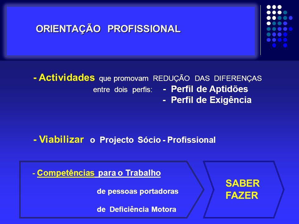 - Actividades que promovam REDUÇÃO DAS DIFERENÇAS entre dois perfis: - Perfil de Aptidões - Perfil de Exigência - Viabilizar o Projecto Sócio - Profis