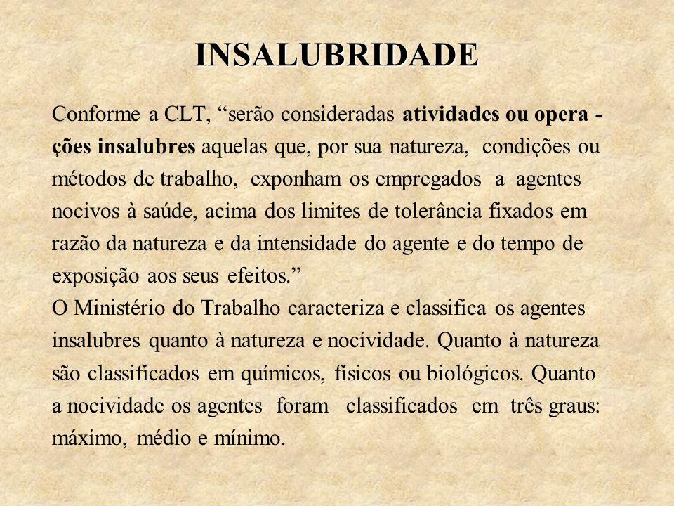 INSALUBRIDADE Conforme a CLT, serão consideradas atividades ou opera - ções insalubres aquelas que, por sua natureza, condições ou métodos de trabalho
