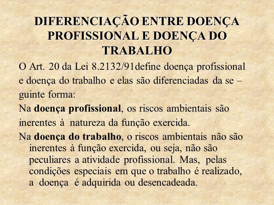 DIFERENCIAÇÃO ENTRE DOENÇA PROFISSIONAL E DOENÇA DO TRABALHO O Art. 20 da Lei 8.2132/91define doença profissional e doença do trabalho e elas são dife