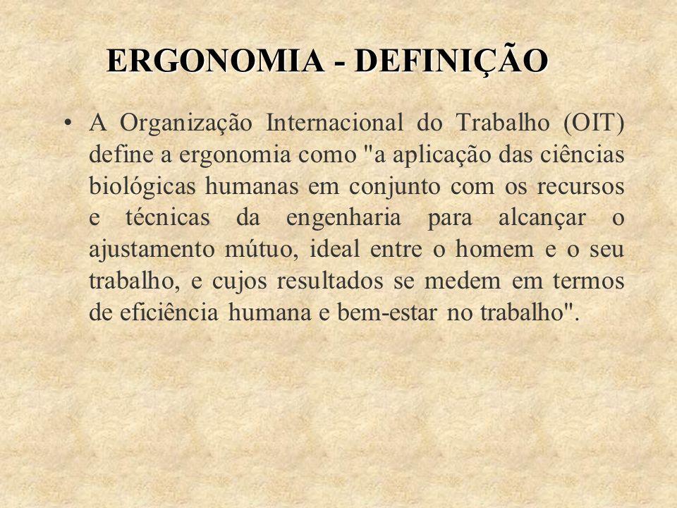 ERGONOMIA - DEFINIÇÃO A Organização Internacional do Trabalho (OIT) define a ergonomia como