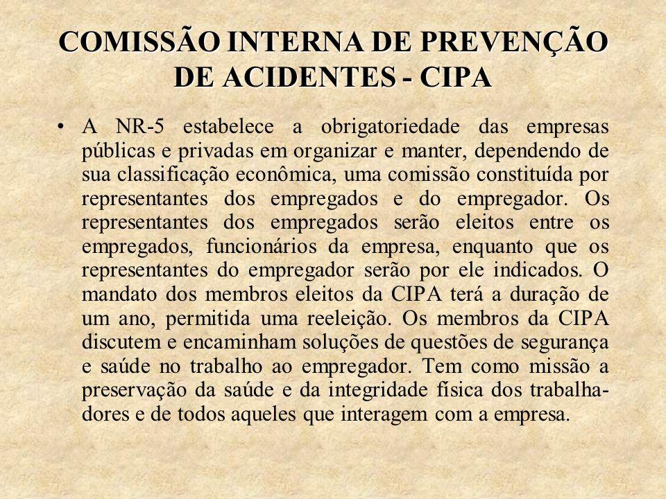 COMISSÃO INTERNA DE PREVENÇÃO DE ACIDENTES - CIPA A NR-5 estabelece a obrigatoriedade das empresas públicas e privadas em organizar e manter, dependen