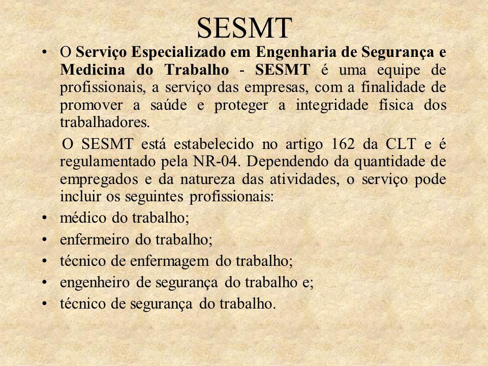 SESMT O Serviço Especializado em Engenharia de Segurança e Medicina do Trabalho - SESMT é uma equipe de profissionais, a serviço das empresas, com a f