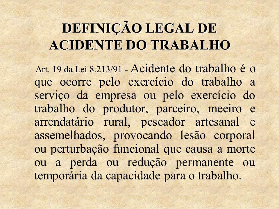 DEFINIÇÃO LEGAL DE ACIDENTE DO TRABALHO Art. 19 da Lei 8.213/91 - Acidente do trabalho é o que ocorre pelo exercício do trabalho a serviço da empresa