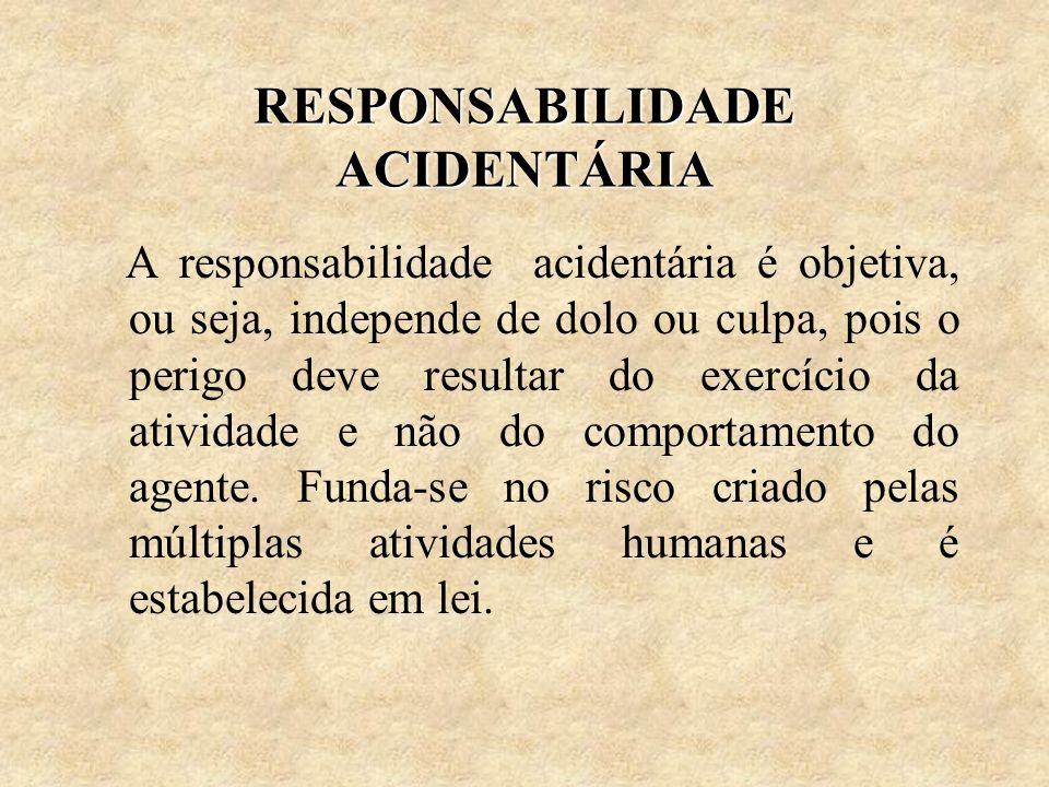 RESPONSABILIDADE ACIDENTÁRIA A responsabilidade acidentária é objetiva, ou seja, independe de dolo ou culpa, pois o perigo deve resultar do exercício