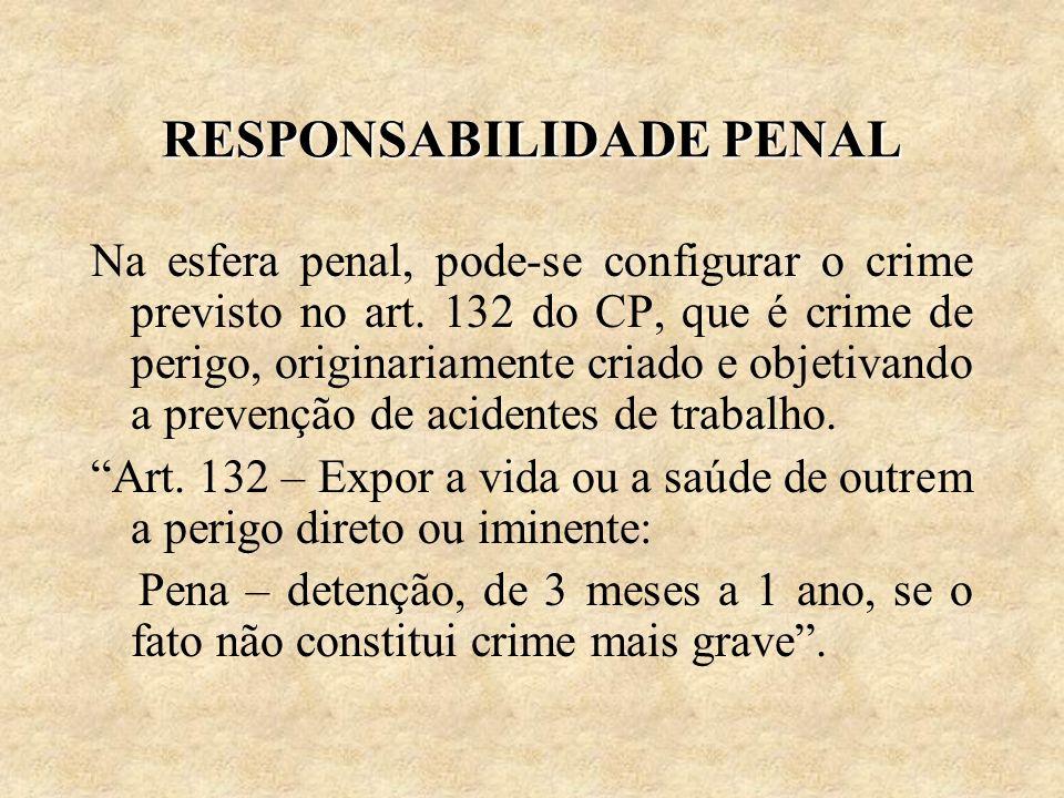 RESPONSABILIDADE PENAL Na esfera penal, pode-se configurar o crime previsto no art. 132 do CP, que é crime de perigo, originariamente criado e objetiv