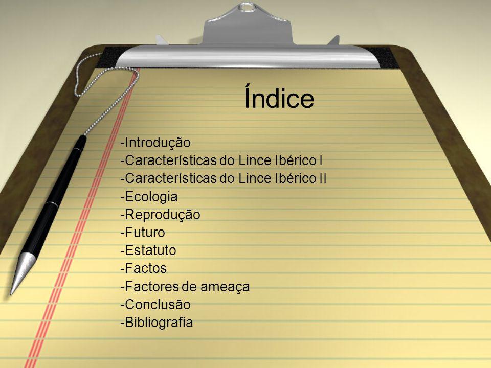 Índice -Introdução -Características do Lince Ibérico I -Características do Lince Ibérico II -Ecologia -Reprodução -Futuro -Estatuto -Factos -Factores de ameaça -Conclusão -Bibliografia