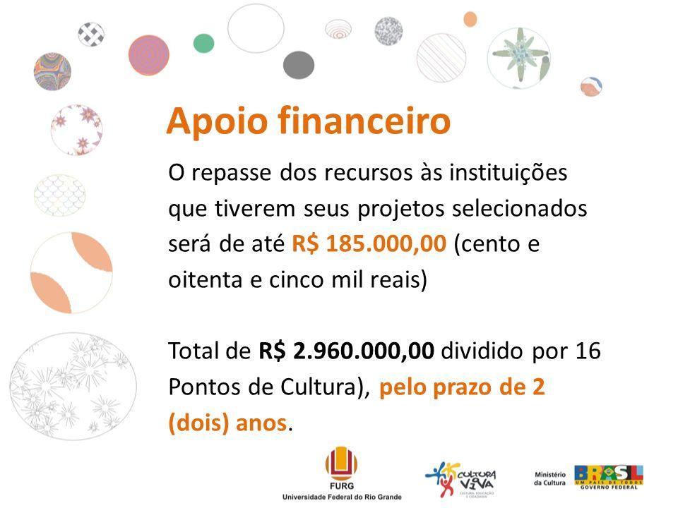 Apoio financeiro O repasse dos recursos às instituições que tiverem seus projetos selecionados será de até R$ 185.000,00 (cento e oitenta e cinco mil reais) Total de R$ 2.960.000,00 dividido por 16 Pontos de Cultura), pelo prazo de 2 (dois) anos.
