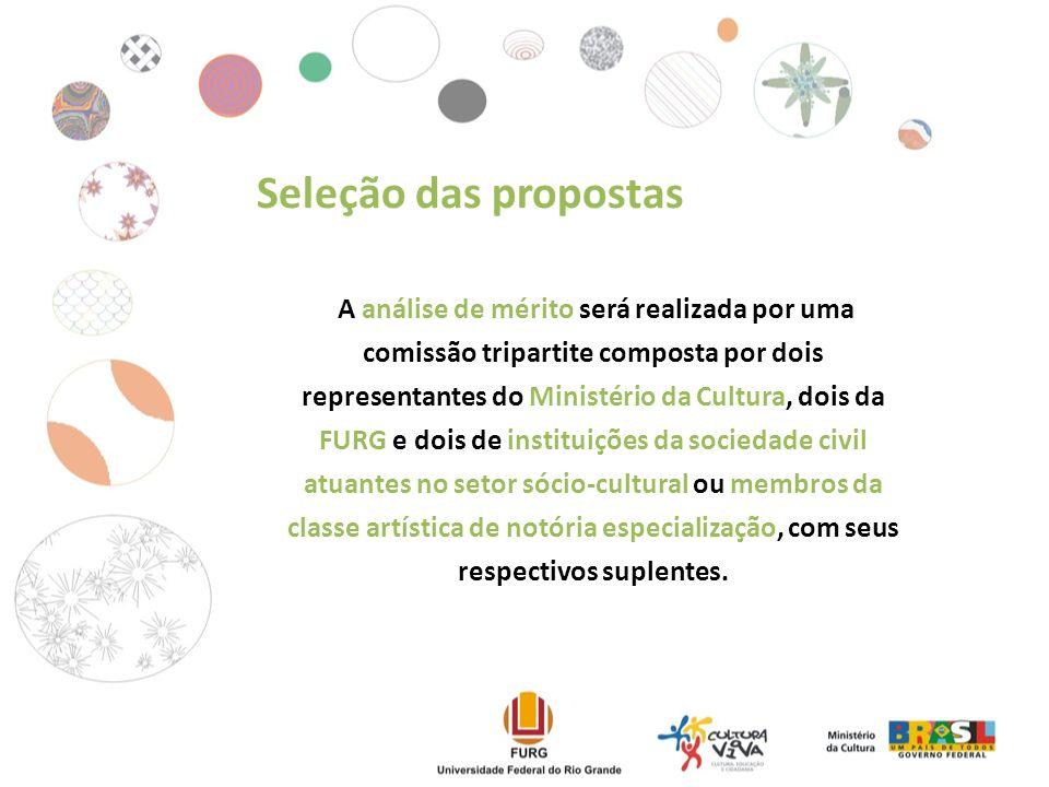 A análise de mérito será realizada por uma comissão tripartite composta por dois representantes do Ministério da Cultura, dois da FURG e dois de instituições da sociedade civil atuantes no setor sócio-cultural ou membros da classe artística de notória especialização, com seus respectivos suplentes.