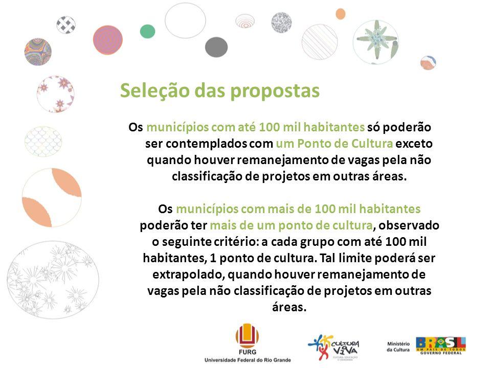 Os municípios com até 100 mil habitantes só poderão ser contemplados com um Ponto de Cultura exceto quando houver remanejamento de vagas pela não classificação de projetos em outras áreas.