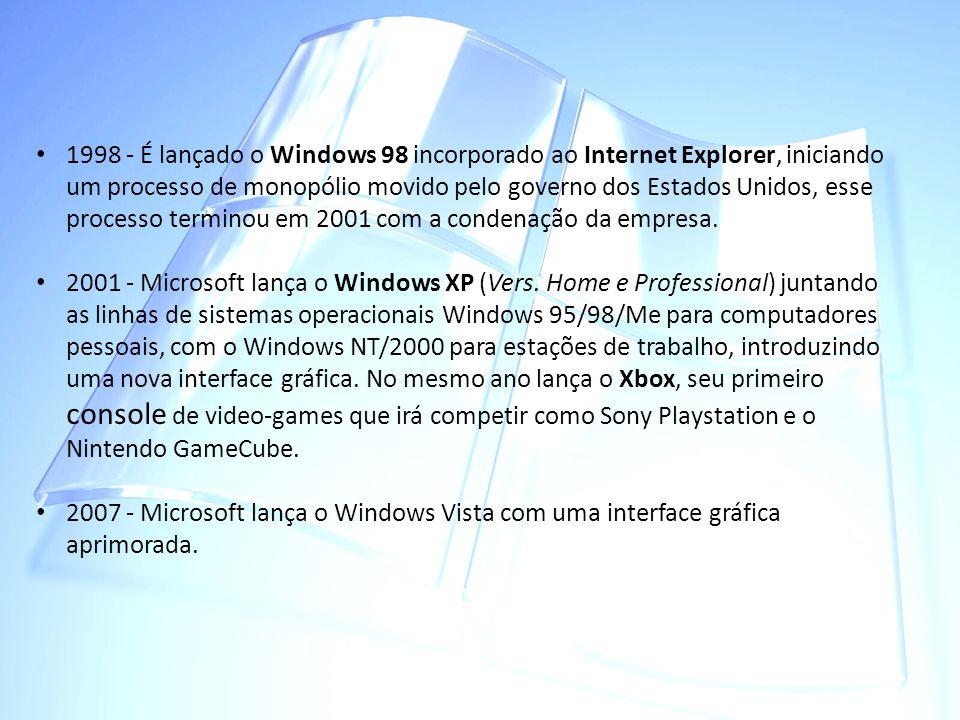 1998 - É lançado o Windows 98 incorporado ao Internet Explorer, iniciando um processo de monopólio movido pelo governo dos Estados Unidos, esse proces