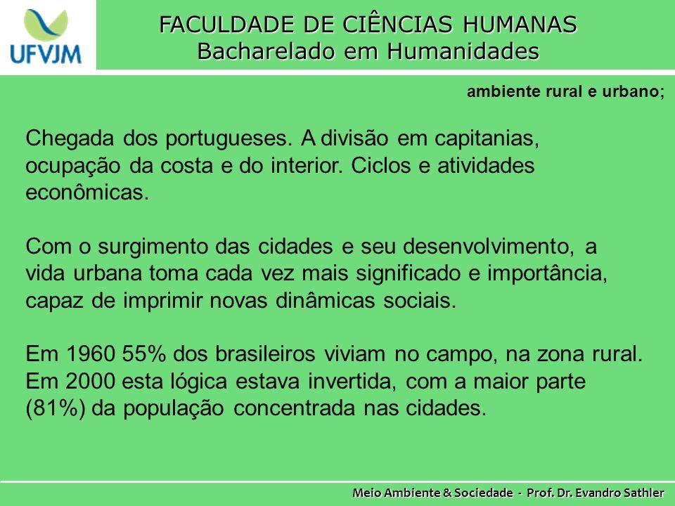 FACULDADE DE CIÊNCIAS HUMANAS Bacharelado em Humanidades Meio Ambiente & Sociedade - Prof.
