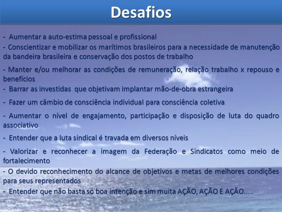 DesafiosDesafios - Aumentar a auto-estima pessoal e profissional - Conscientizar e mobilizar os marítimos brasileiros para a necessidade de manutenção