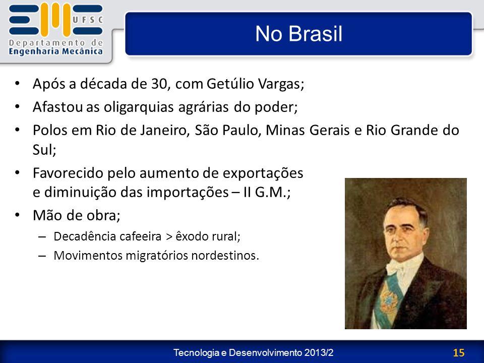 Tecnologia e Desenvolvimento 2013/2 15 No Brasil Após a década de 30, com Getúlio Vargas; Afastou as oligarquias agrárias do poder; Polos em Rio de Ja