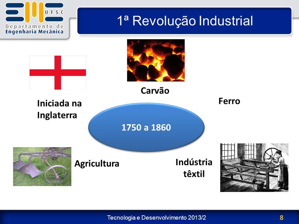 Tecnologia e Desenvolvimento 2013/2 9 1ª Revolução Industrial Máquina a vapor: – Tomas Newcomen (1698): primeiro motor a vapor; – James Watt (1765): aprimoramento do motor a vapor aplicando um condensador.