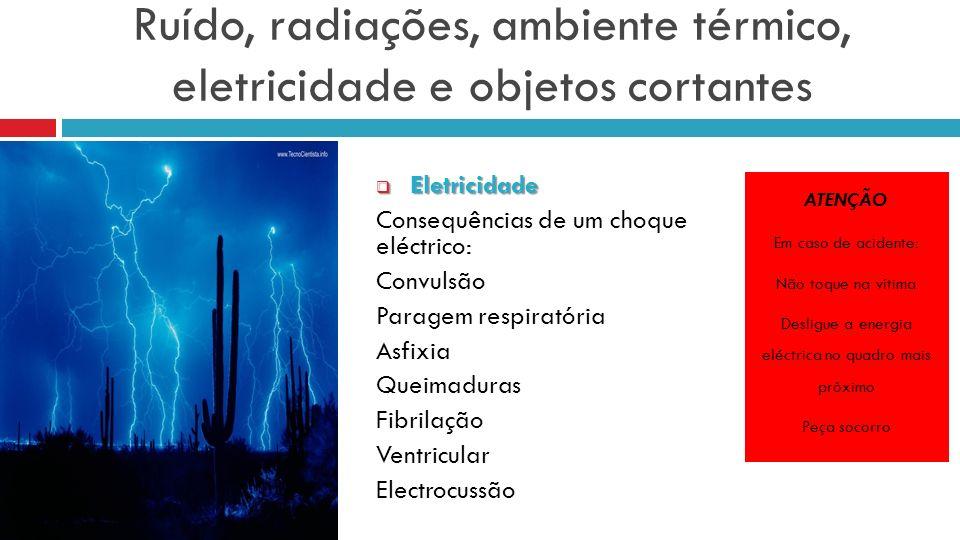 Ruído, radiações, ambiente térmico, eletricidade e objetos cortantes Eletricidade Eletricidade Consequências de um choque eléctrico: Convulsão Paragem