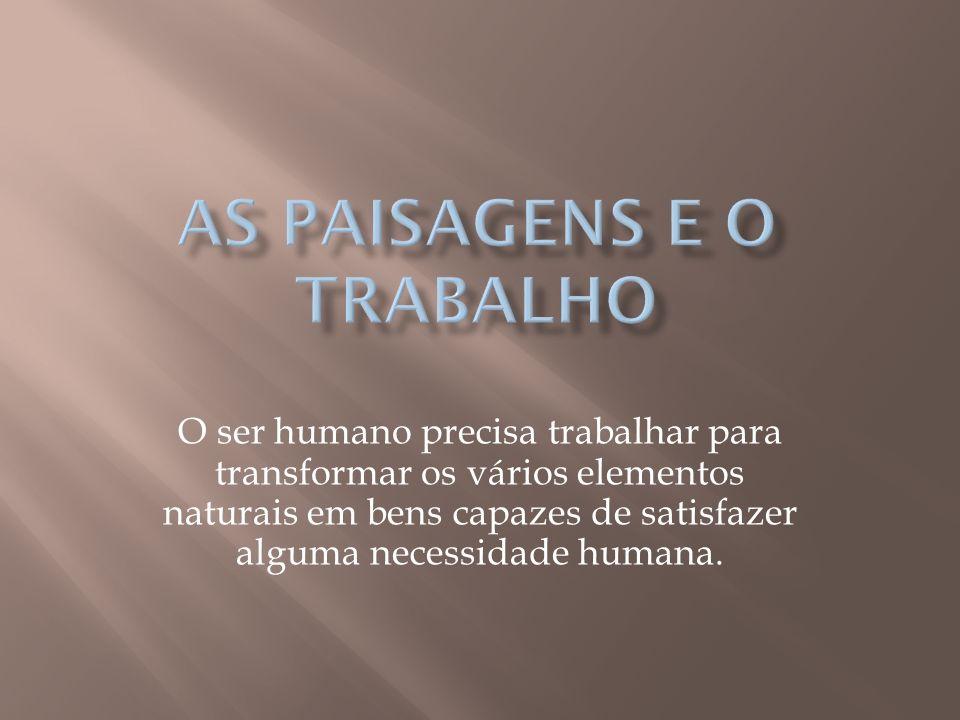 O ser humano precisa trabalhar para transformar os vários elementos naturais em bens capazes de satisfazer alguma necessidade humana.