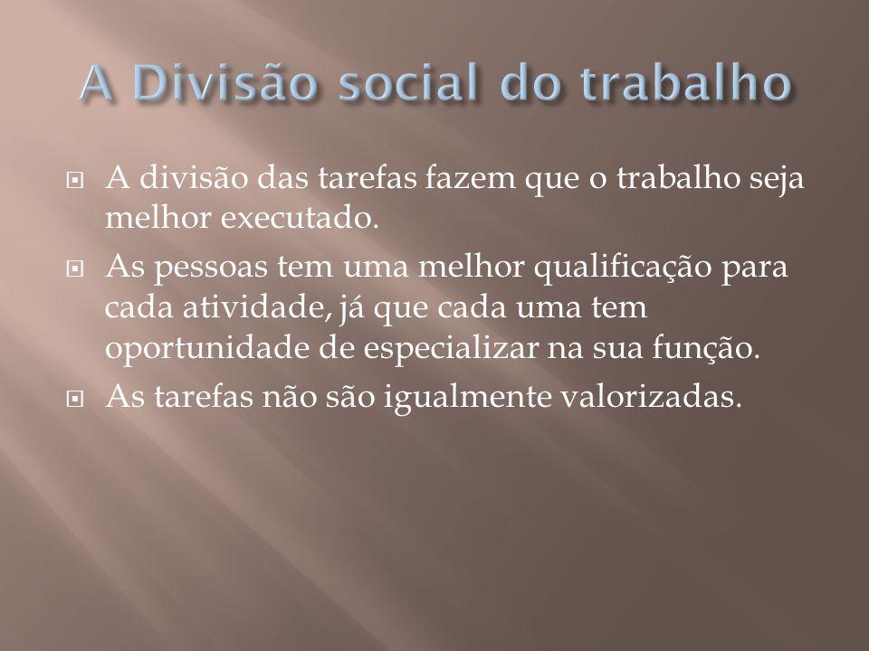 A divisão que ocorre nas atividades também acontece na parte territorial.