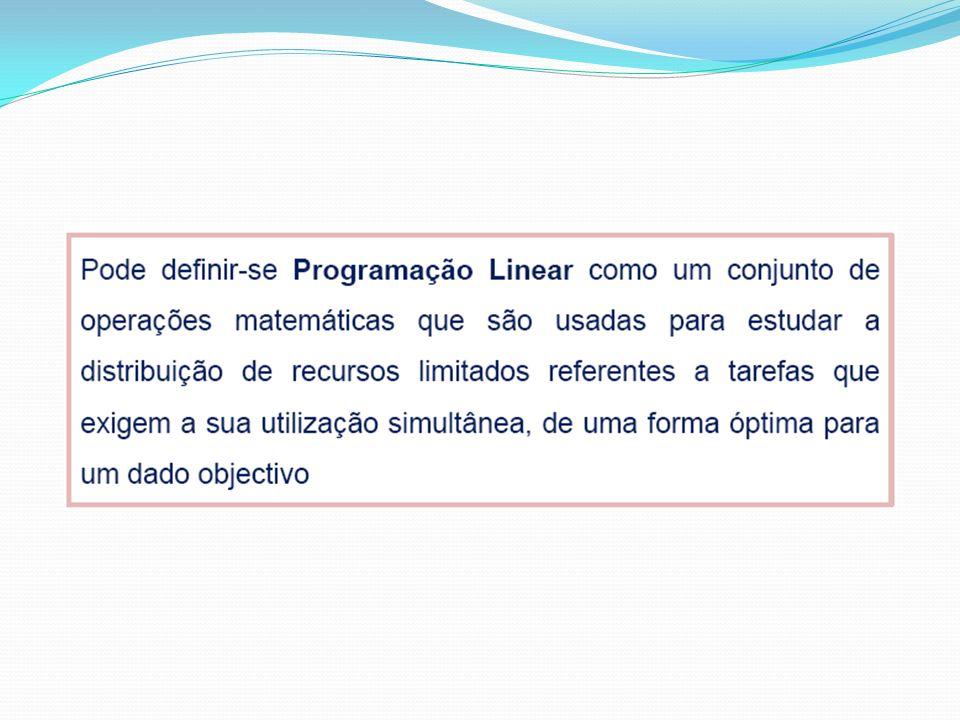 Passos a seguir na resolução de um problema de Programação Linear: 1º Passo: Organizar os dados; 2º Passo: Identificação das variáveis de decisão.