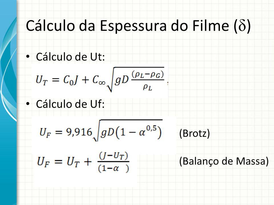Cálculo da Espessura do Filme ( δ ) Cálculo de Ut: Cálculo de Uf: (Brotz) (Balanço de Massa)