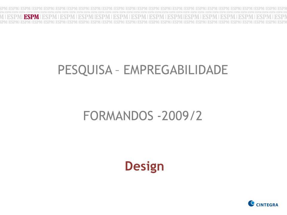 PESQUISA – EMPREGABILIDADE FORMANDOS -2009/2 Design