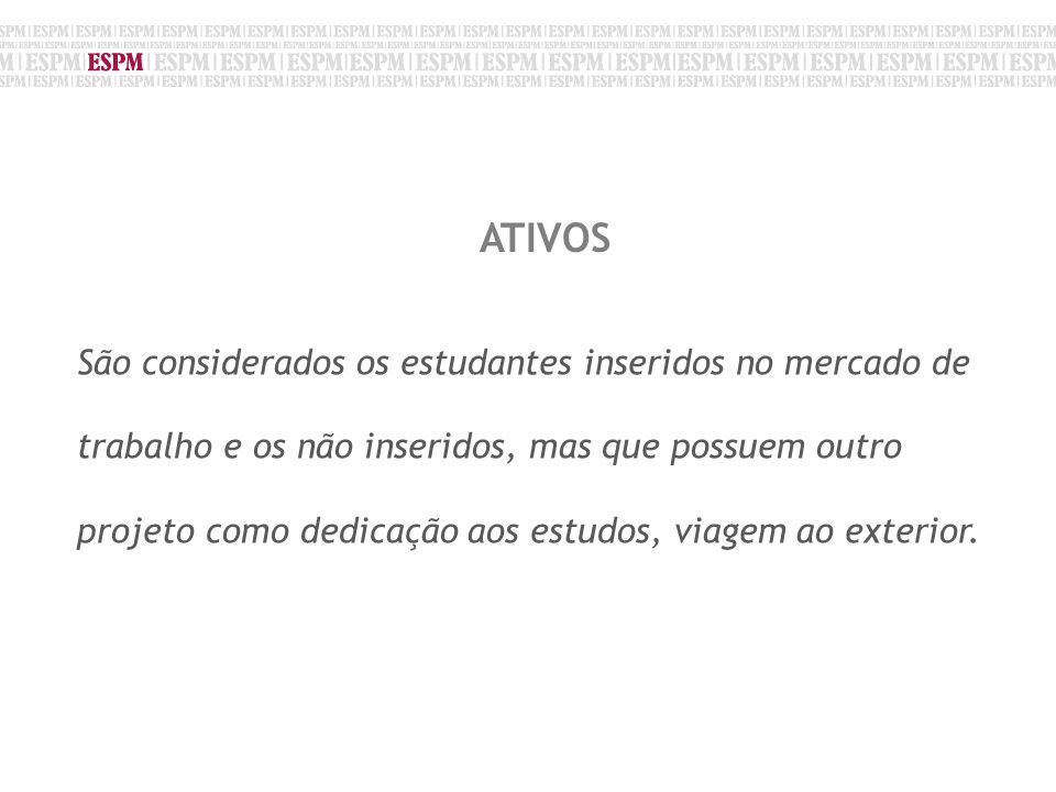 Fonte: CINTEGRA/2009 ATIVOS São considerados os estudantes inseridos no mercado de trabalho e os não inseridos, mas que possuem outro projeto como dedicação aos estudos, viagem ao exterior.