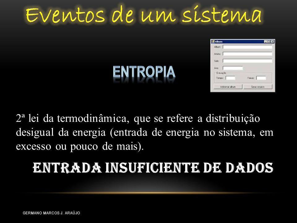 2ª lei da termodinâmica, que se refere a distribuição desigual da energia (entrada de energia no sistema, em excesso ou pouco de mais). Entrada insufi
