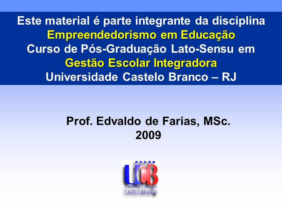 Empreendedorismo em Educação Este material é parte integrante da disciplina Empreendedorismo em Educação Curso de Pós-Graduação Lato-Sensu em Gestão Escolar Integradora Universidade Castelo Branco – RJ Prof.