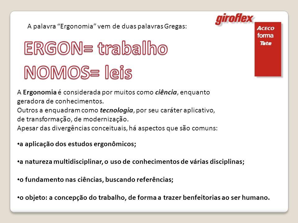A Ergonomia é considerada por muitos como ciência, enquanto geradora de conhecimentos. Outros a enquadram como tecnologia, por seu caráter aplicativo,