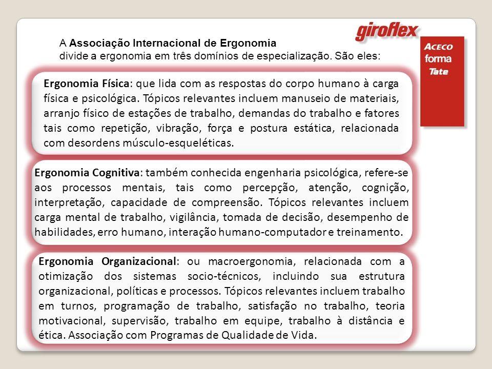 Ergonomia Organizacional: ou macroergonomia, relacionada com a otimização dos sistemas socio-técnicos, incluindo sua estrutura organizacional, polític