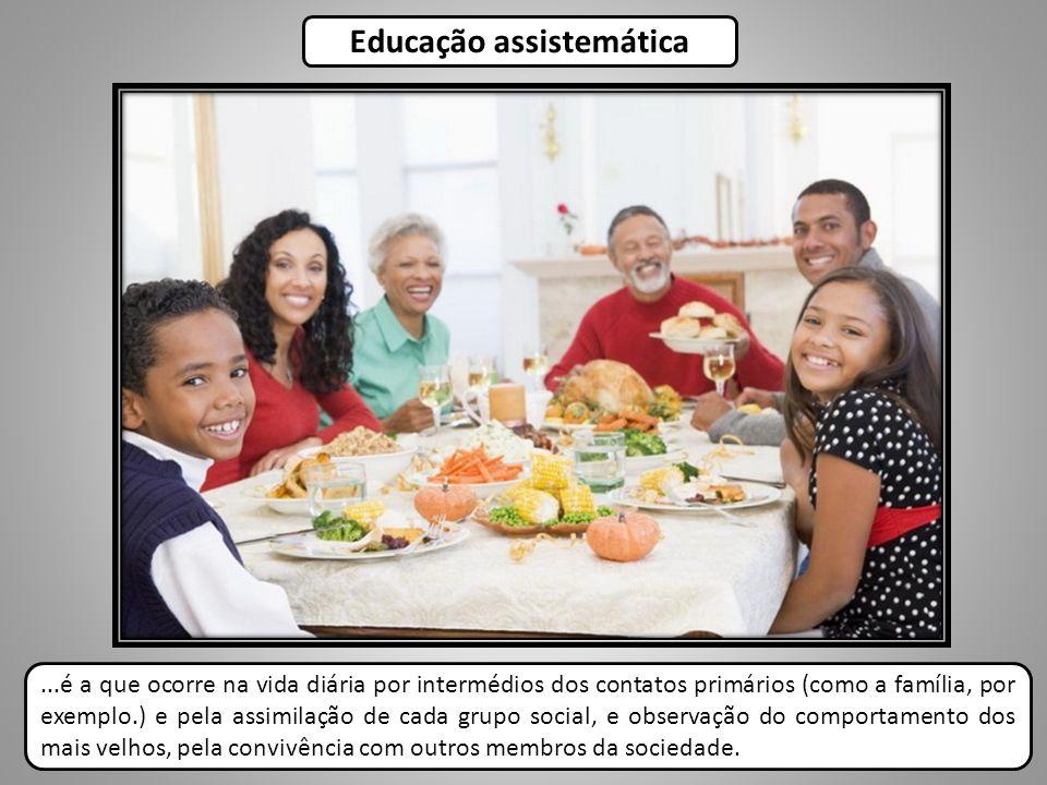 ...é a que ocorre na vida diária por intermédios dos contatos primários (como a família, por exemplo.) e pela assimilação de cada grupo social, e obse