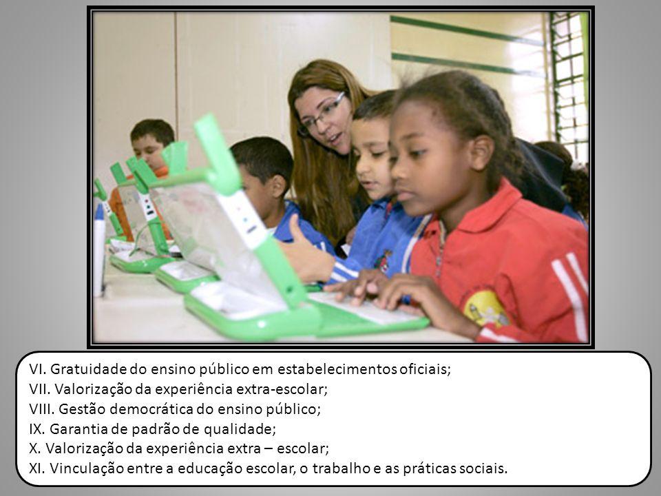 VI. Gratuidade do ensino público em estabelecimentos oficiais; VII. Valorização da experiência extra-escolar; VIII. Gestão democrática do ensino públi