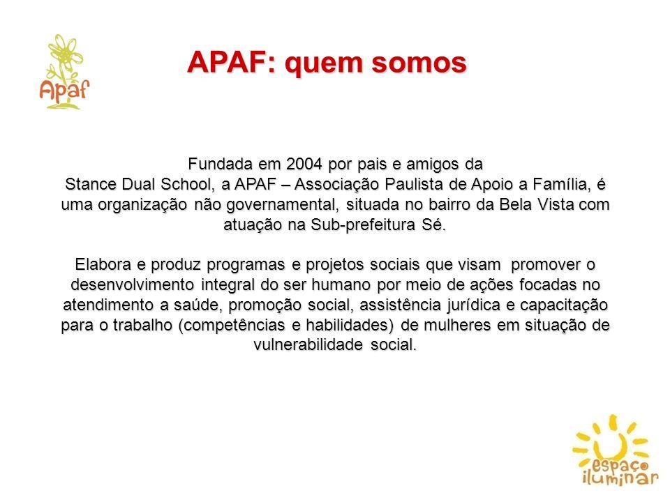 APAF: quem somos Fundada em 2004 por pais e amigos da Stance Dual School, a APAF – Associação Paulista de Apoio a Família, é uma organização não gover