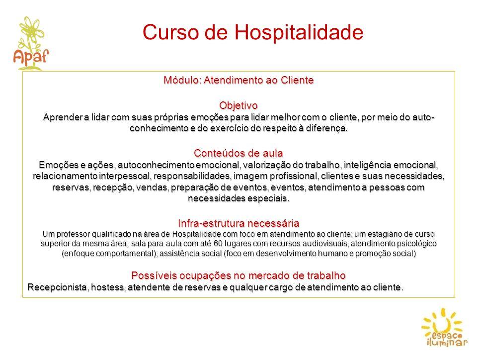 Curso de Hospitalidade Módulo: Atendimento ao Cliente Objetivo Aprender a lidar com suas próprias emoções para lidar melhor com o cliente, por meio do