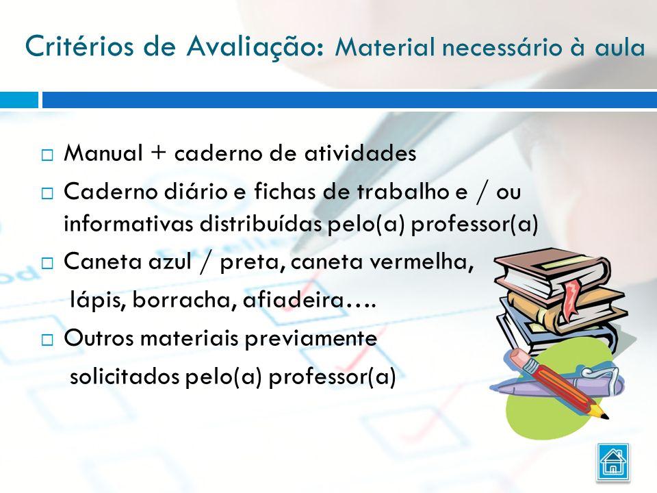 Critérios de Avaliação : Material necessário à aula Manual + caderno de atividades Caderno diário e fichas de trabalho e / ou informativas distribuída