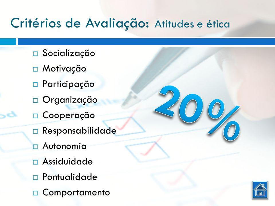 Critérios de Avaliação : Atitudes e ética Socialização Motivação Participação Organização Cooperação Responsabilidade Autonomia Assiduidade Pontualida