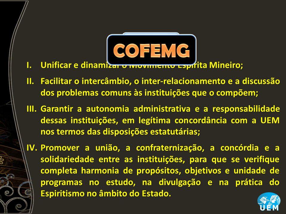 I.Unificar e dinamizar o Movimento Espírita Mineiro; II.Facilitar o intercâmbio, o inter-relacionamento e a discussão dos problemas comuns às institui