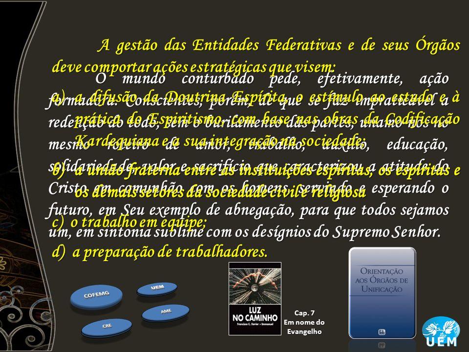 b)a união fraterna entre as instituições espíritas, os espíritas e os demais setores da sociedade civil e religiosa O mundo conturbado pede, efetivame