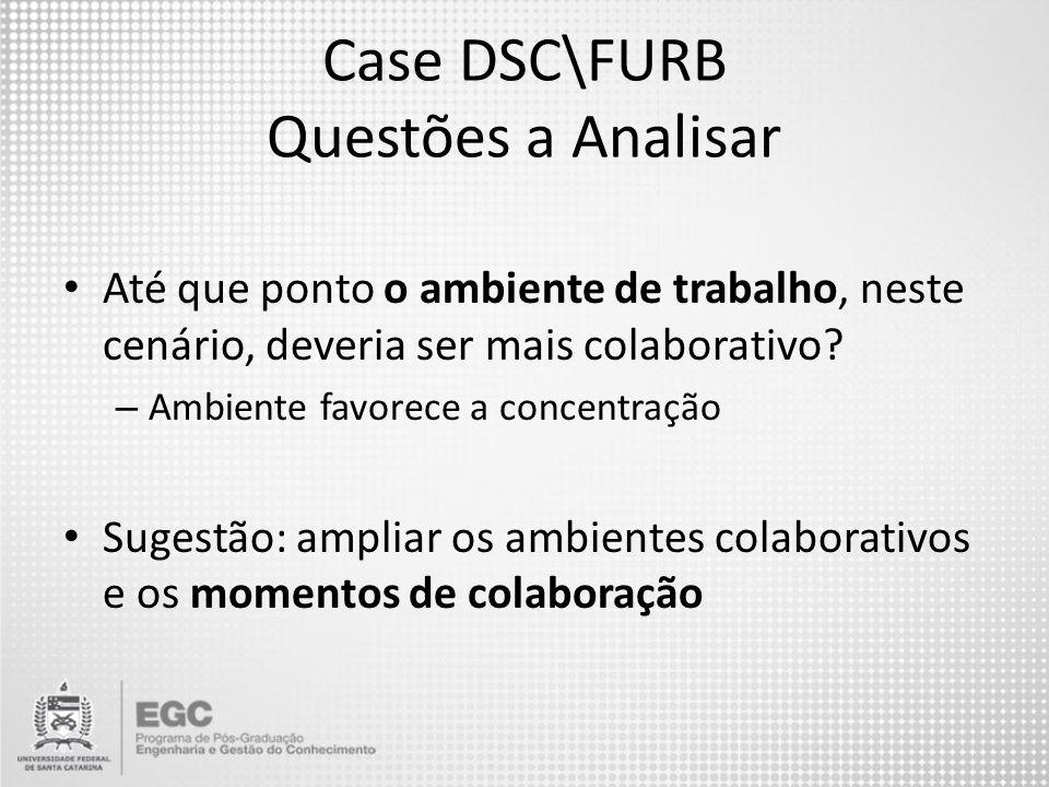 Case DSC\FURB Questões a Analisar Até que ponto o ambiente de trabalho, neste cenário, deveria ser mais colaborativo? – Ambiente favorece a concentraç