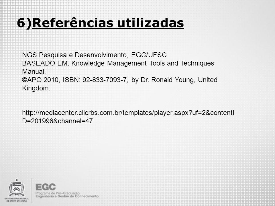 6)Referências utilizadas NGS Pesquisa e Desenvolvimento, EGC/UFSC BASEADO EM: Knowledge Management Tools and Techniques Manual. ©APO 2010, ISBN: 92-83