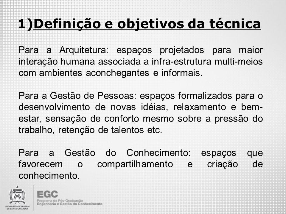 1)Definição e objetivos da técnica Para a Arquitetura: espaços projetados para maior interação humana associada a infra-estrutura multi-meios com ambi