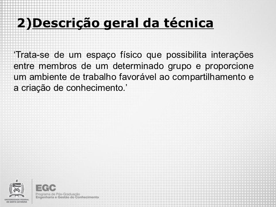 2)Descrição geral da técnica Trata-se de um espaço físico que possibilita interações entre membros de um determinado grupo e proporcione um ambiente d