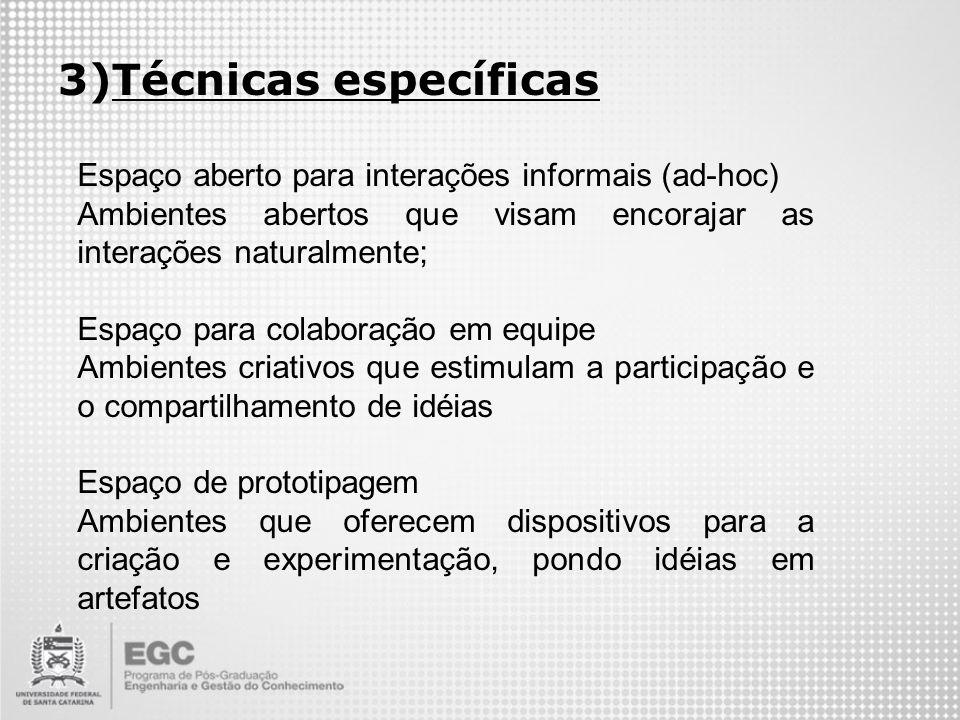 3)Técnicas específicas Espaço aberto para interações informais (ad-hoc) Ambientes abertos que visam encorajar as interações naturalmente; Espaço para
