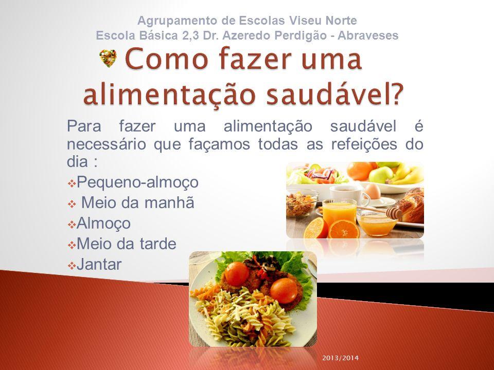 Para fazer uma alimentação saudável é necessário que façamos todas as refeições do dia : Pequeno-almoço Meio da manhã Almoço Meio da tarde Jantar 2013