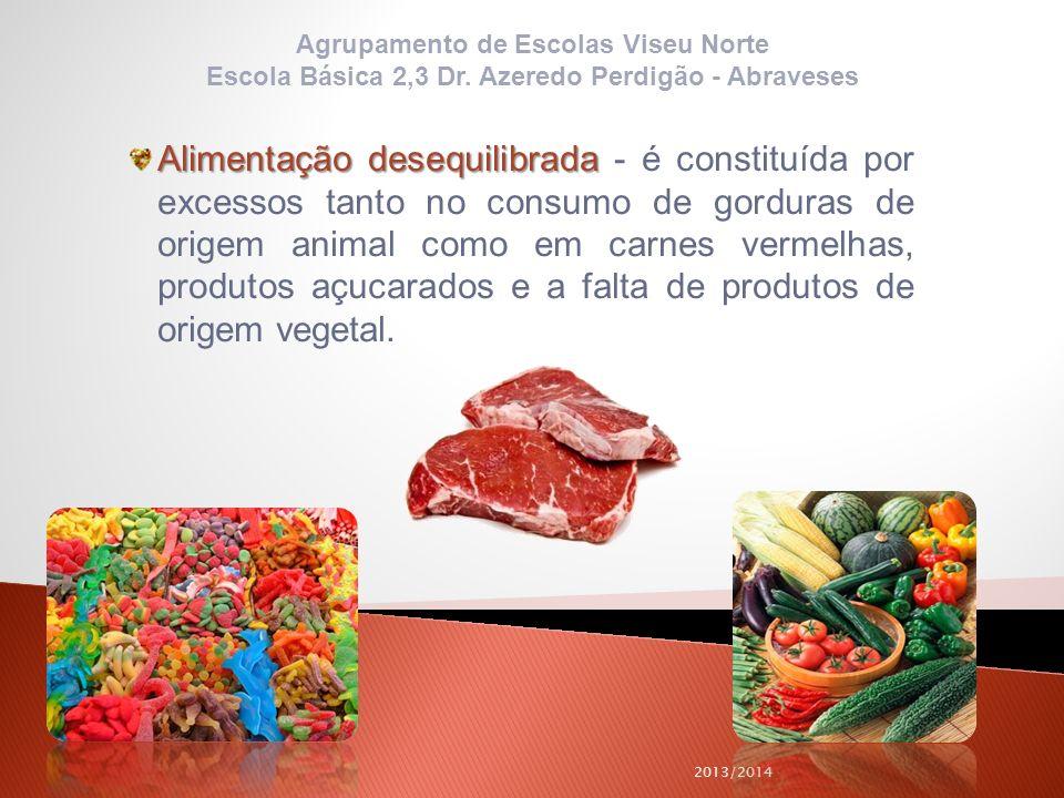 2013/2014 Alimentação desequilibrada Alimentação desequilibrada - é constituída por excessos tanto no consumo de gorduras de origem animal como em car