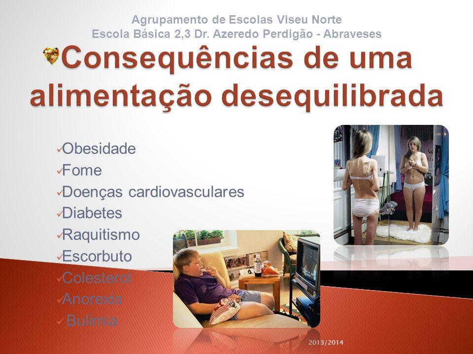 Obesidade Fome Doenças cardiovasculares Diabetes Raquitismo Escorbuto Colesterol Anorexia Bulimia 2013/2014 Agrupamento de Escolas Viseu Norte Escola