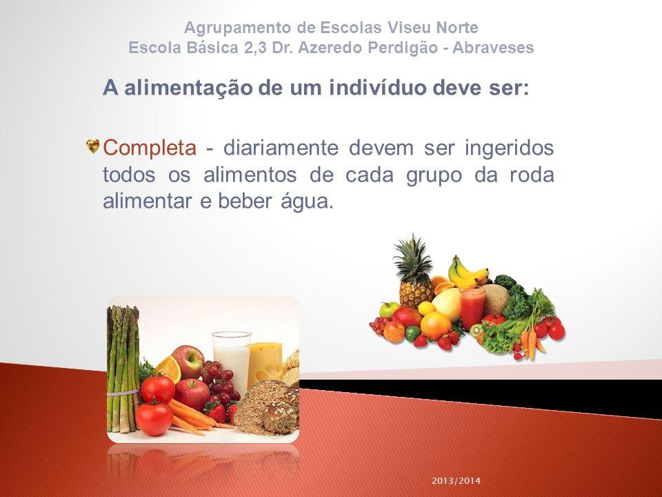 A alimentação de um indivíduo deve ser: Completa - diariamente devem ser ingeridos todos os alimentos de cada grupo da roda alimentar e beber água. 20