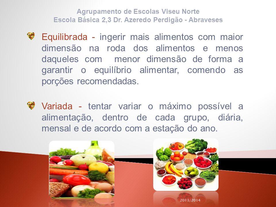 Equilibrada - ingerir mais alimentos com maior dimensão na roda dos alimentos e menos daqueles com menor dimensão de forma a garantir o equilíbrio ali