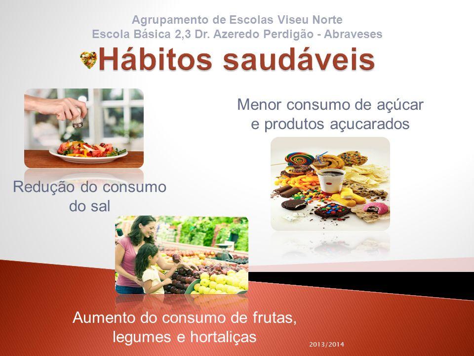 2013/2014 Redução do consumo do sal Menor consumo de açúcar e produtos açucarados Aumento do consumo de frutas, legumes e hortaliças Agrupamento de Es