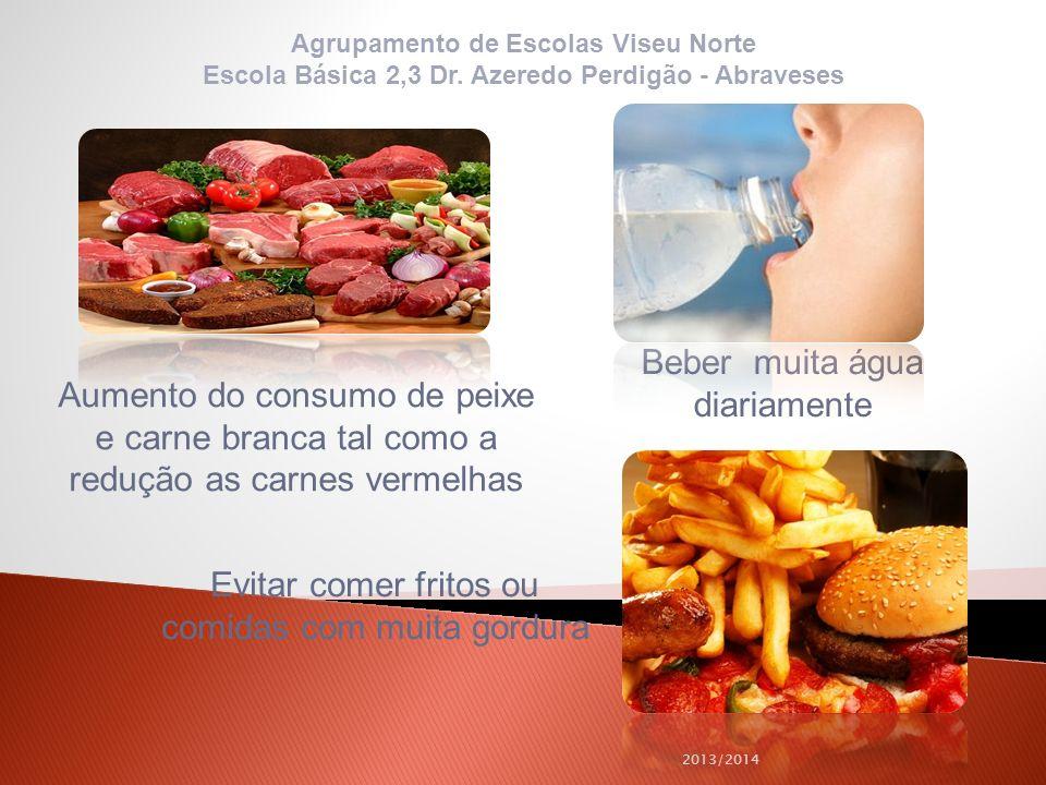 2013/2014 Aumento do consumo de peixe e carne branca tal como a redução as carnes vermelhas Beber muita água diariamente Evitar comer fritos ou comida