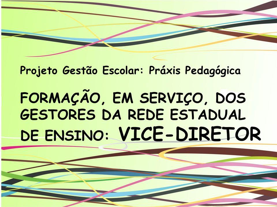Projeto Gestão Escolar: Práxis Pedagógica FORMAÇÃO, EM SERVIÇO, DOS GESTORES DA REDE ESTADUAL DE ENSINO: VICE-DIRETOR